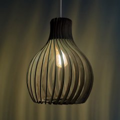 Opis PL2 black - Black wood pendant lamp made out of elegant, curved parts