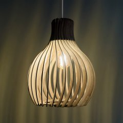 Opis PL2 light - Light wood pendant lamp made out of elegant, curved parts