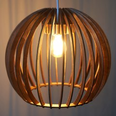 Opis PL2a - Brown wood pendant lamp made out of elegant, curved parts