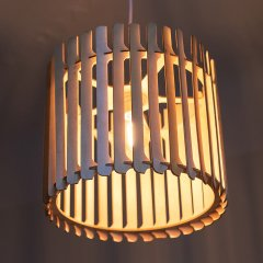 Opis PL2b - Brown wood pendant lamp in retro cylinder shape