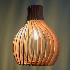 Opis PL2 - Brown wood pendant lamp made out of elegant, curved parts