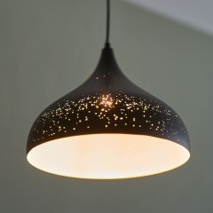 Opis PL3 - Rustic metal shade lamp with unique pattern of holes in various sizes