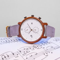 Opis UR-M2: Elegant four quadrant chronograph in wood, metal and leather / Multi-function wood chronograph (Red Sandalwood)