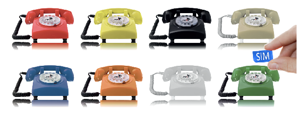 Opis 60s mobile retro GSM desktop phone in all 8 colours